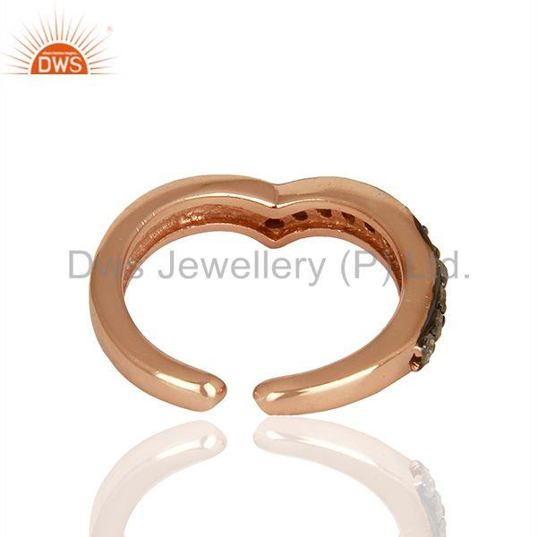 Exporter Sterling Silver Rose Gold Plated Pave Diamond Midi Rings Manufacturer