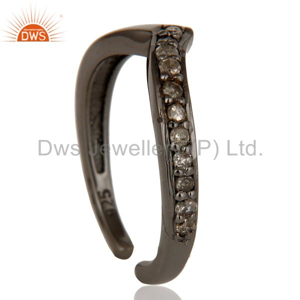 Exporter Oxidized Sterling Silver and Diamond Designer Midi Ring