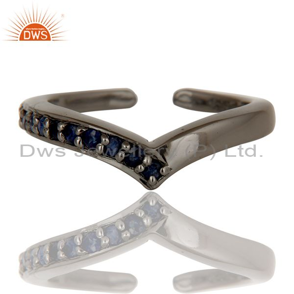 Exporter Black Oxidized 925 Sterling Silver Handmade Blue Sapphire Midi Ring Jewelry