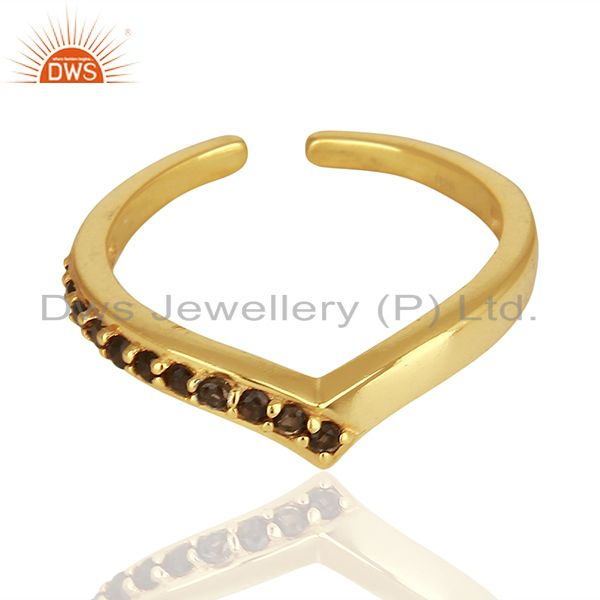 Exporter Smoky Quartz Gemstone 925 Silver Gold Plated Rings Jewelry Supplier