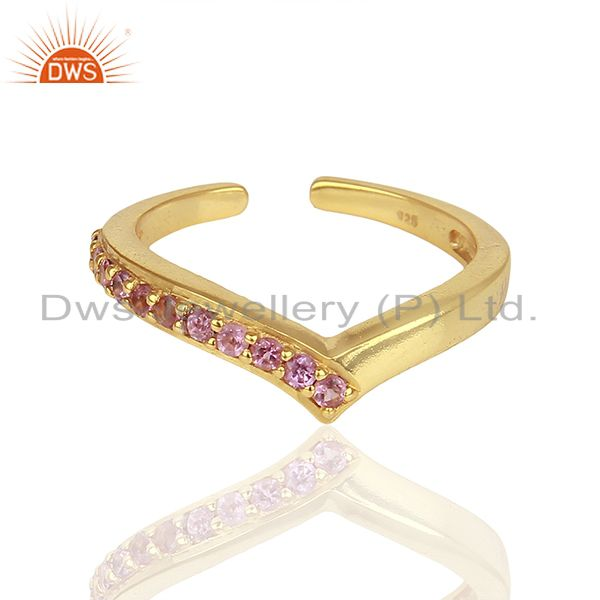 Exporter Pink Tourmaline Gemstone Gold Plated Silver Midi Ring Jewelry