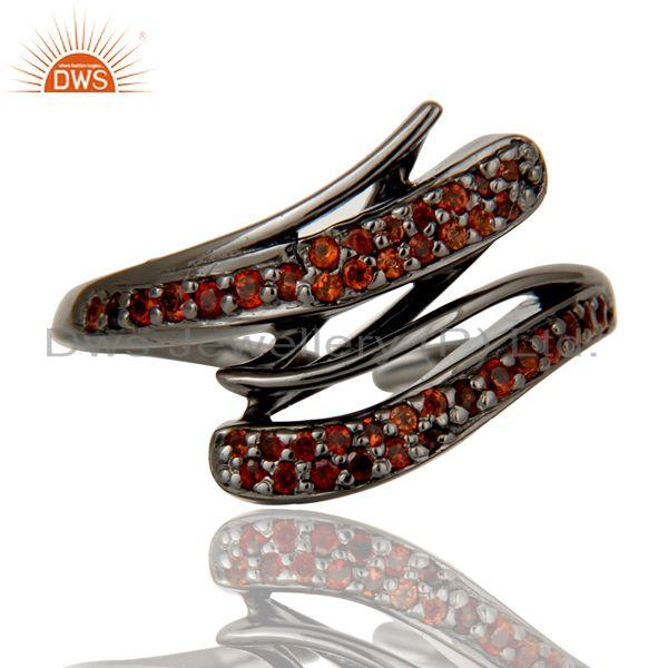 Exporter Black Oxidized 925 Sterling Silver Natural Garnet Midi Ring Gift Jewelry