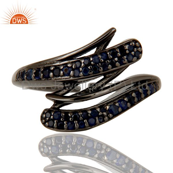 Exporter Black Oxidized Sterling Silver and Blue Sapphire Designer Midi Ring