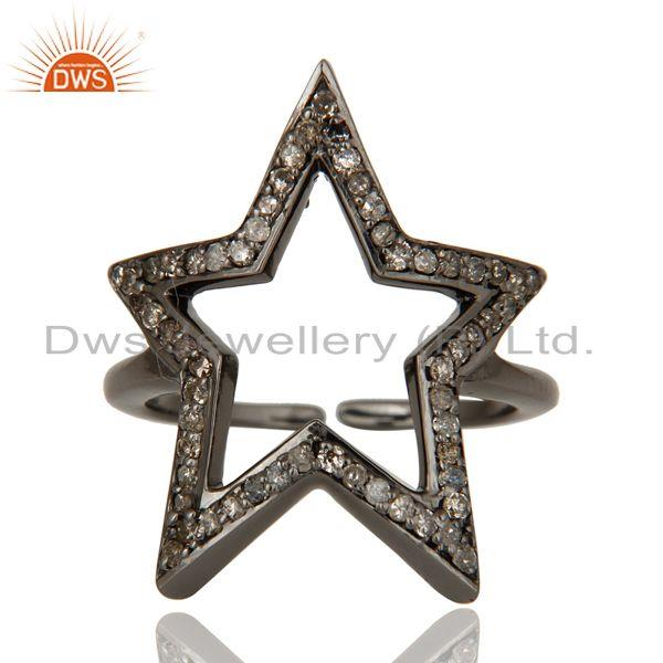 Exporter Black Oxidized Sterling Silver Diamond Rose Cut Designer Midi Ring Jewellery