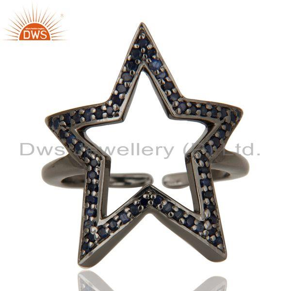 Exporter Black Oxidized 925 Sterling Silver Blue Sapphire Designer Midi Ring Jewellery