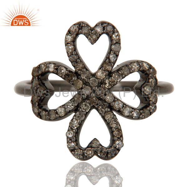 Exporter Pave Diamond Heart Design Oxidized Sterling Silver Ring