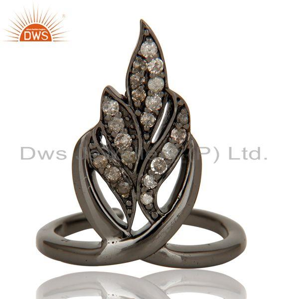 Exporter Black Oxidized Sterling Silver and Diamond Leaf Design Midi Ring