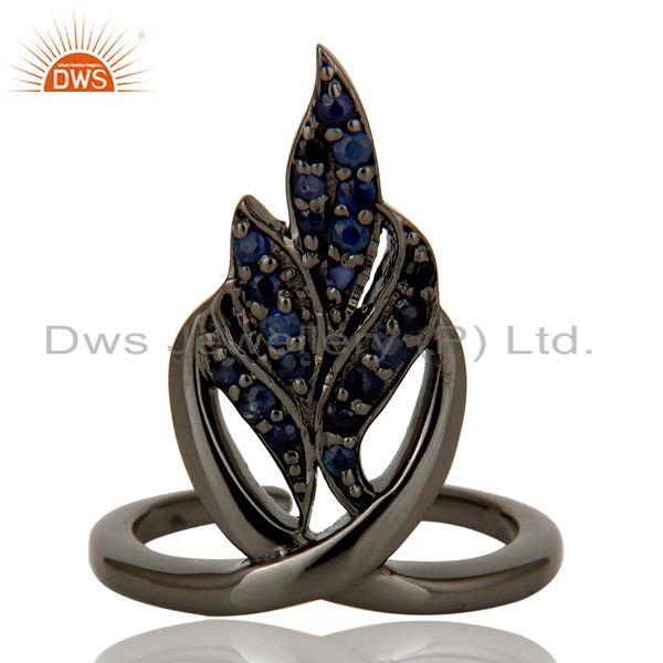 Exporter Black Oxidized Sterling Silver and Blue Sapphire Leaf Design Midi Ring