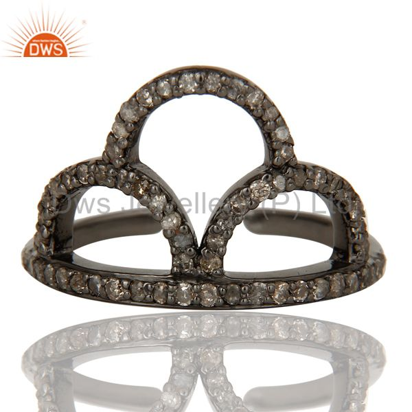 Exporter Black Oxidized Sterling Silver and Diamond Crown Design Midi Ring