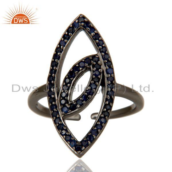Exporter High Polish Black Oxidized Sterling Silver Blue Sapphire Statement Midi Ring