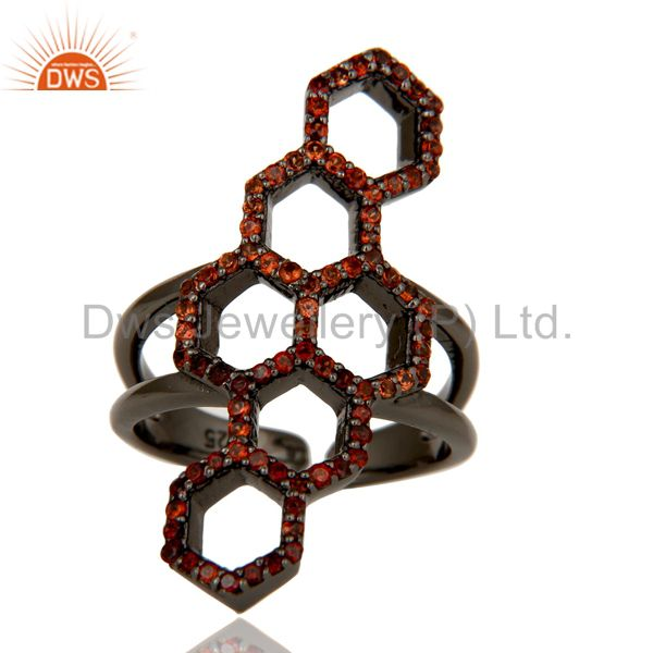 Exporter Handmade Garnet Round Statement Midi Ring With Black Oxidized Sterling Silver