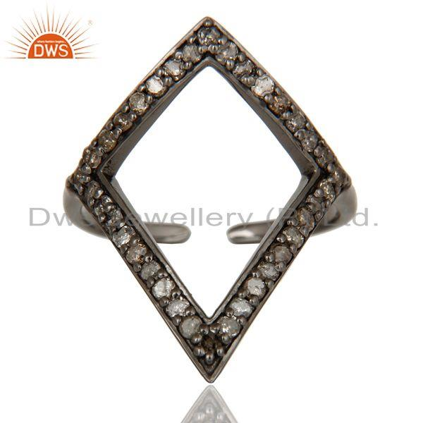 Exporter Diamond and Oxidized Sterling Silver Tringle Shape Midi Ring