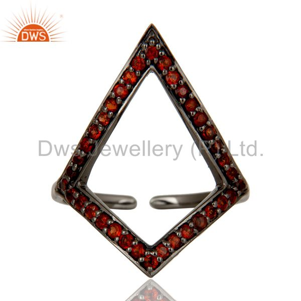 Exporter Garnet and Oxidized Sterling Silver Tringle Shape Midi Ring