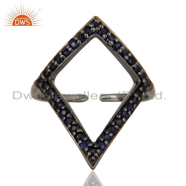 Exporter Blue Sapphire and Oxidized Sterling Silver Tringle Shape Midi Ring