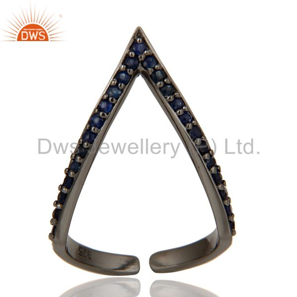 Exporter Black Oxidized 925 Sterling Silver Handmade Natural Iolite Midi Ring Jewelry