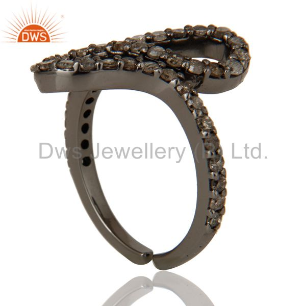 Exporter Black Oxidized 925 Sterling Silver Diamond Round Statement Midi Ring Jewelry