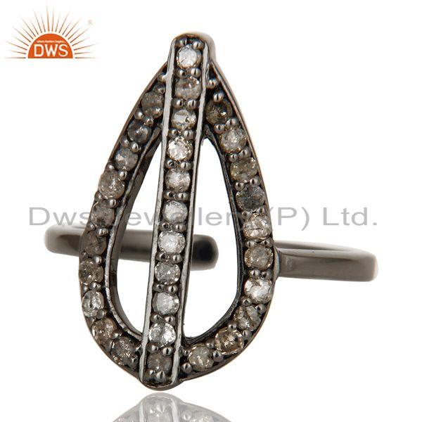 Exporter Diamond and Oxidized Sterling Silver Peace Sign Midi Ring