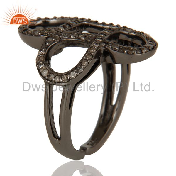 Exporter Diamond Black Oxidized Sterling Silver Infinity Midi Ring