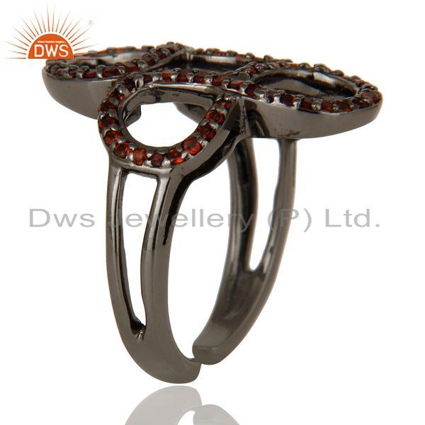 Exporter Garnet Black Oxidized Sterling Silver Infinity Midi Ring