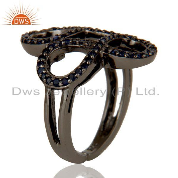Exporter Blue Sapphire Black Oxidized Sterling Silver Infinity Midi Ring