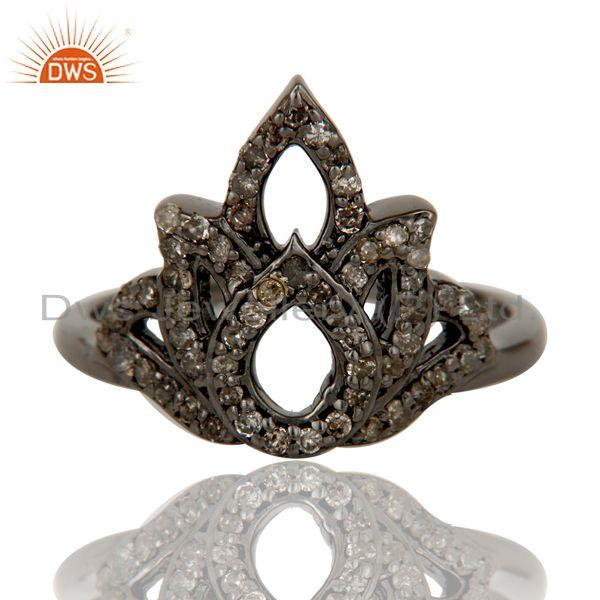 Exporter Diamond Black Oxidized Sterling Silver Crown Midi Ring