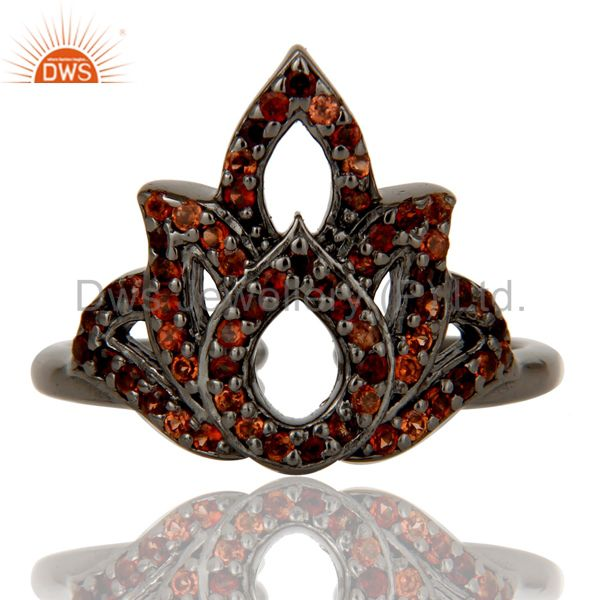 Exporter Garnet Black Oxidized Sterling Silver Crown Midi Ring
