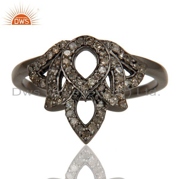 Exporter Crown Design Diamond and Oxidized Sterling Silver Beautiful Ring