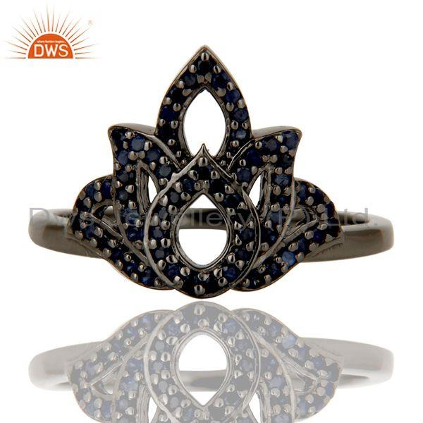 Exporter Crown Design Blue Sapphire and Oxidized Sterling Silver Beautiful Ring