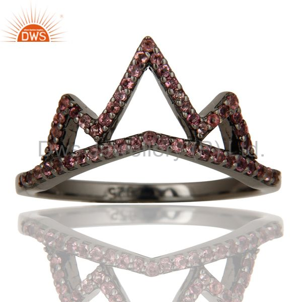 Exporter Crown Design Pink Tourmaline Ring Black Oxidized Sterling Silver Loving Ring