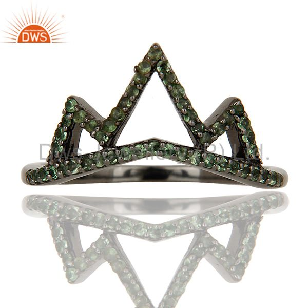 Exporter Crown Design Tsavourite Ring Black Oxidized Sterling Silver Loving Ring