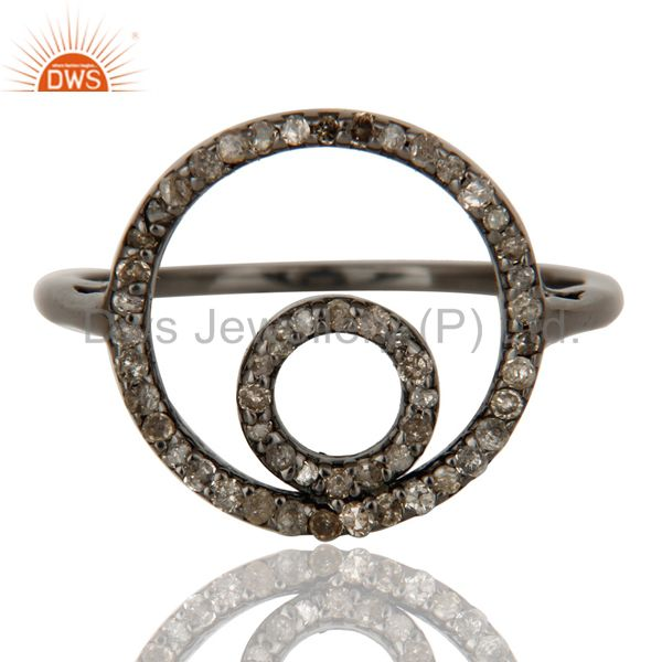 Exporter Round Design Pave Diamond Ring Black Oxidized Sterling Silver Loving Ring