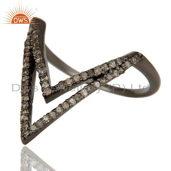 Exporter Diamond and Oxidized Sterling Silver Designer Lovely Ring