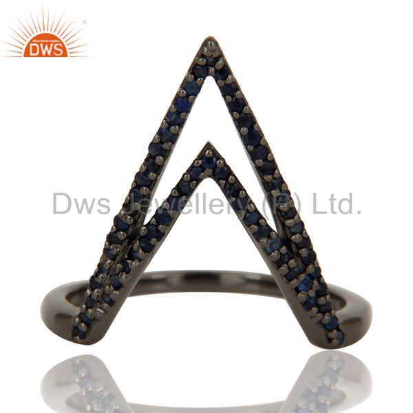 Exporter Blue Sapphire and Oxidized Sterling Silver Designer Lovely Ring