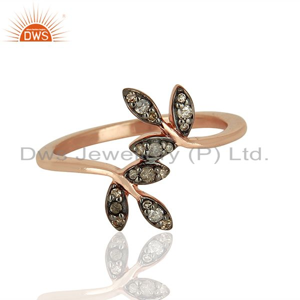 Exporter Leaf Shape Pave Diamond 925 Silver Wedding Gift Rings Jewelry Supplier