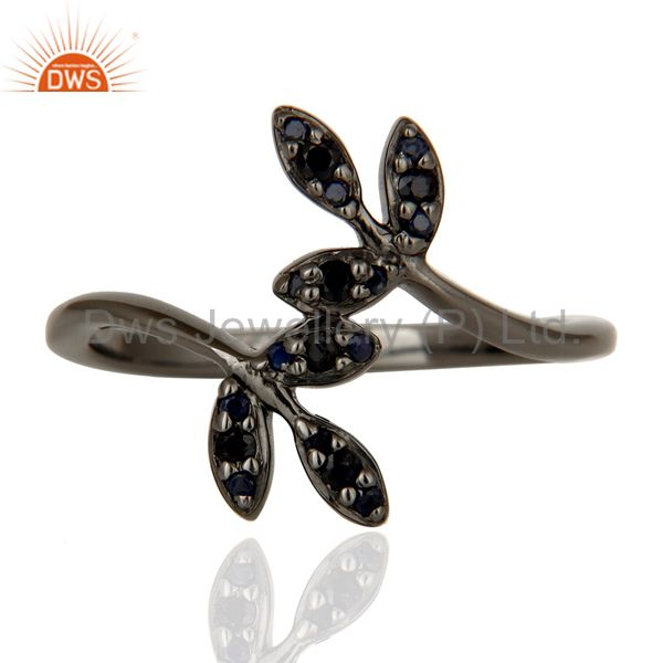 Exporter Blue Sapphire and Black Oxidized Leaf Designer Sterling Silver Ring