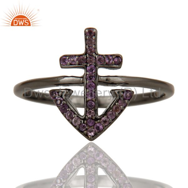 Exporter Amethyst and Oxidized Sterling Silver Cross Sign Statement Ring