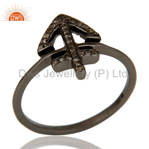 Exporter Pave Diamond Oxidized 925 Sterling Silver Cross Design Statement Ring Jewelry