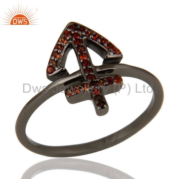 Exporter Garnet and Oxidized Sterling Silver Cross Sign Statement Ring