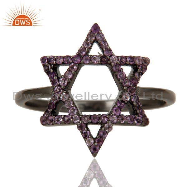 Exporter Amethyst and Oxidized Sterling Silver Star Design Ring