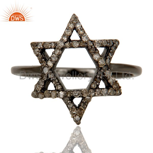 Exporter Pave Diamond and Oxidized Sterling Silver Star Design Ring