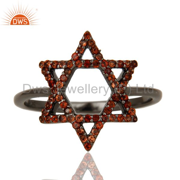 Exporter Garnet and Oxidized Sterling Silver Star Design Ring
