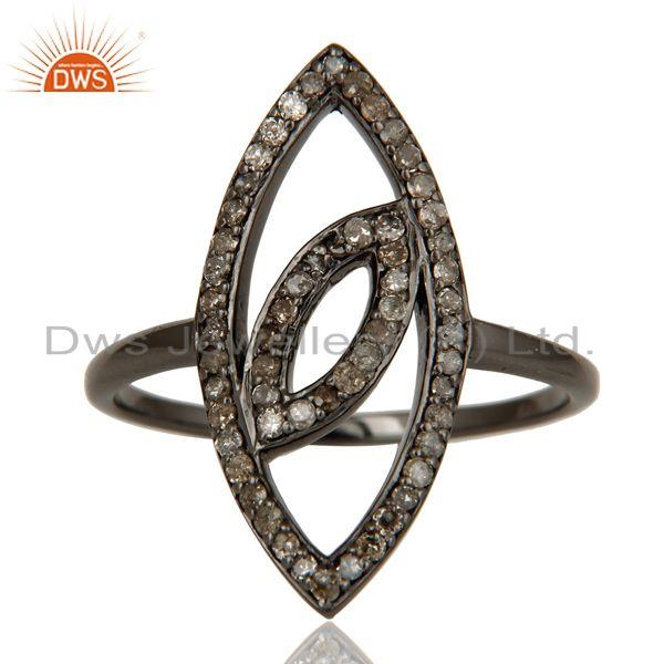 Exporter Oxidized Sterling Silver and Diamond Studded Ring Designer Jewelry