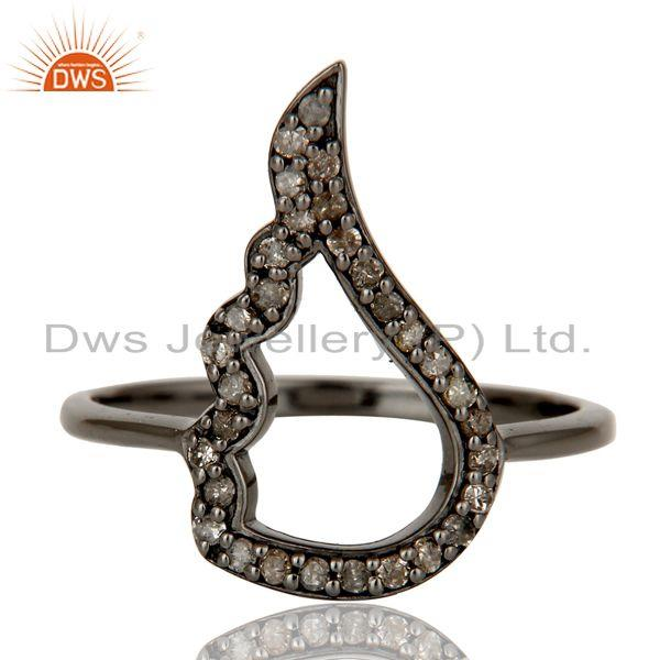 Exporter Wing Style Diamond and Oxidized Sterling Silver Jewelry Ring