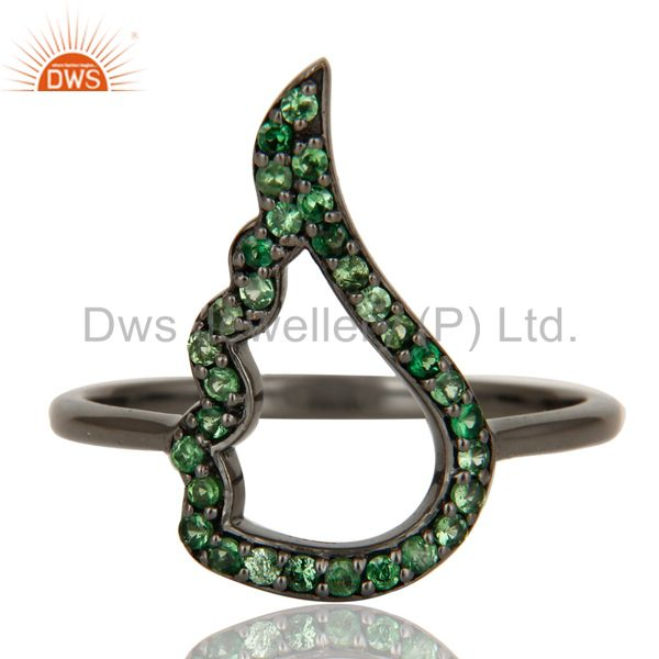 Exporter Wing Style Tsavourite and Oxidized Sterling Silver Jewelry Ring