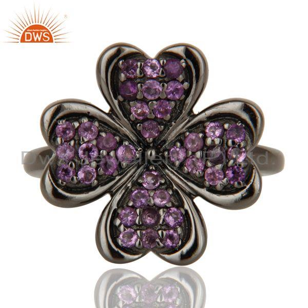 Exporter Flower Style Amethyst and Oxidized Sterling Silver Jewelry Ring
