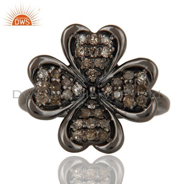 Exporter Diamond and Oxidized Sterling Silver Flower Design Ring