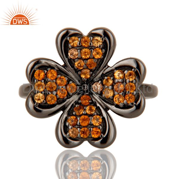 Exporter Spessartite and Oxidized Sterling Silver Flower Design Ring