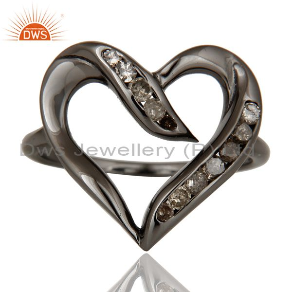 Exporter Designer Heart Ring with Diamond and Oxidized Sterling Silver