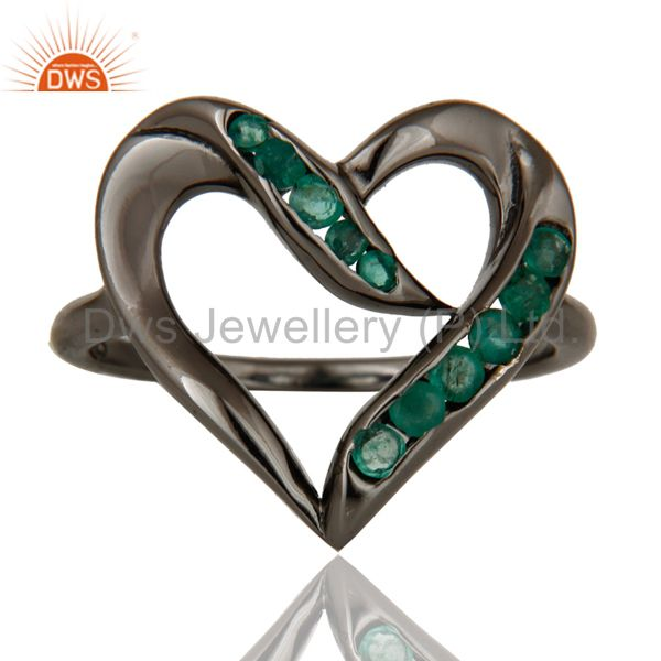 Exporter Designer Heart Ring with Emerald and Oxidized Sterling Silver