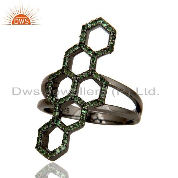 Exporter Oxidized Sterling Silver and Tsavourite Statement Ring Designer Jewelry